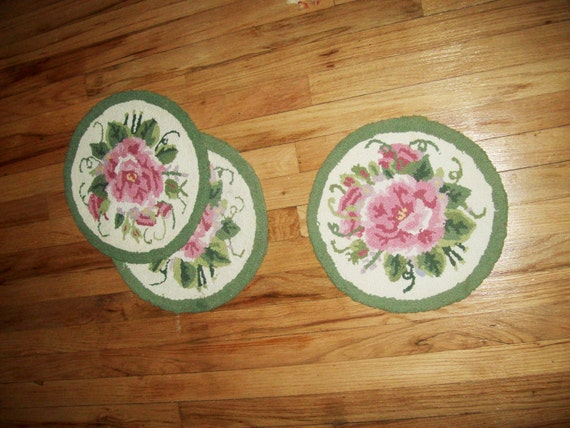 RESERVED  for Elizabeth vintage 4 needlepoint chair pads pink rose embroidery