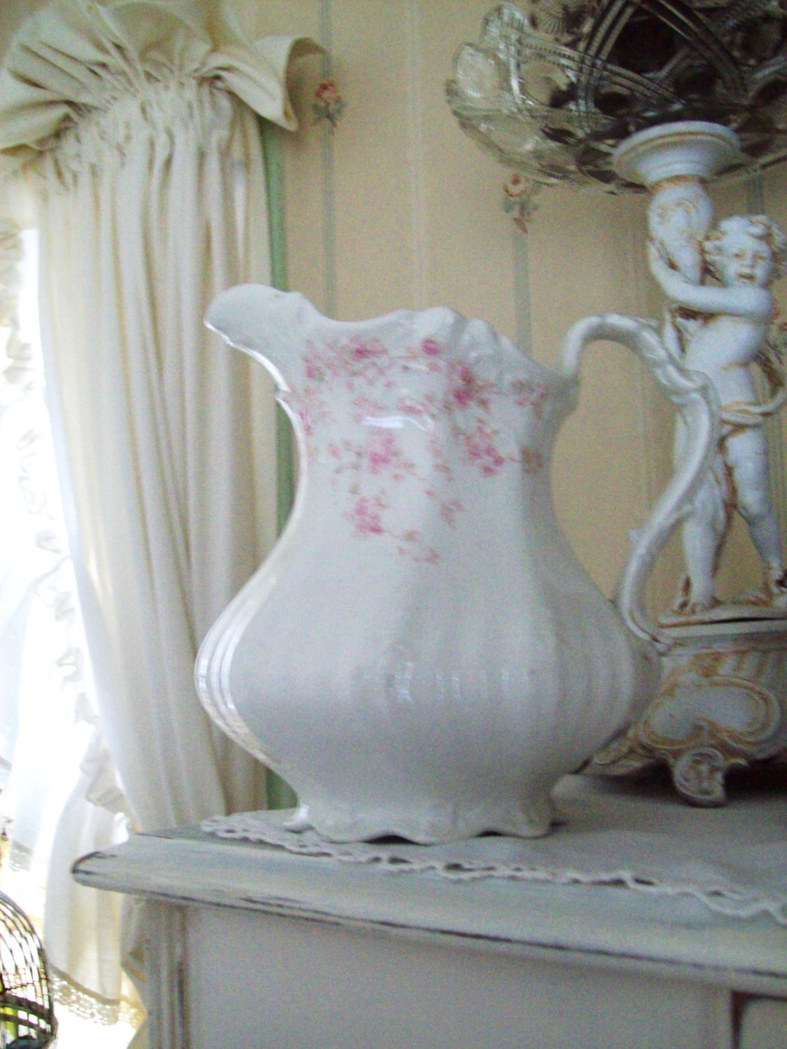 reserve for darlene vintage pitcher shabby chic pink rose vase. Black Bedroom Furniture Sets. Home Design Ideas