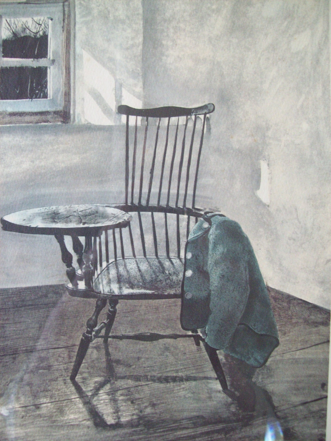 Andrew Wyeth Signed Fine Art Print Writing Chair With Vintage