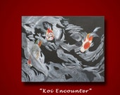 Acrylic Painting koi fish black white with silver contemporary Giclee 8x10 Matted Print by Peggy Martinez