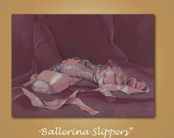 Print Fine Art Giclee color pencil drawing ballet slippers mauve purple pink realism