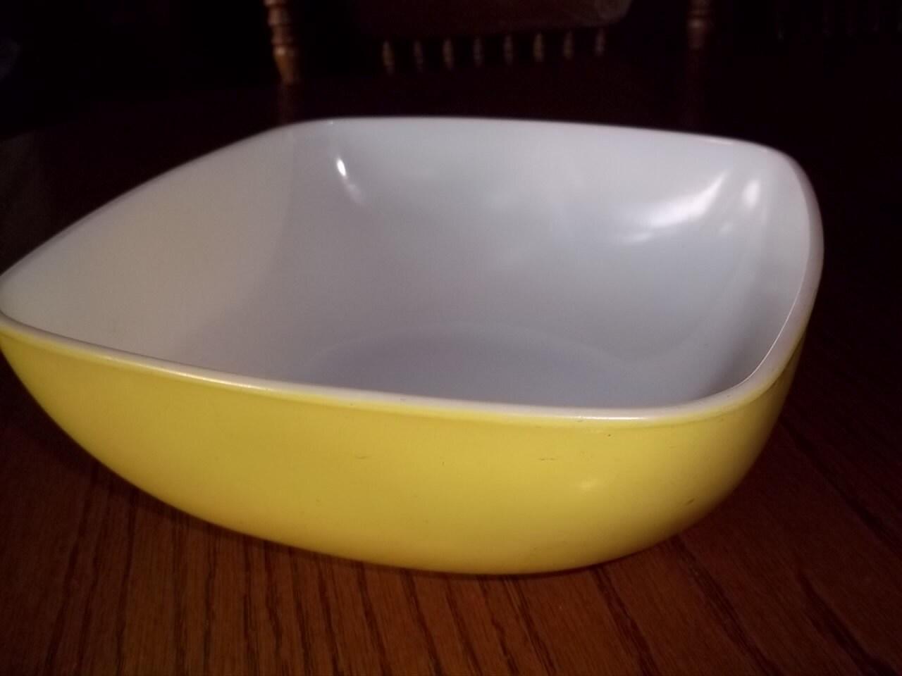 Vintage Pyrex Lemon Yellow Square Mixing Bowl by ...