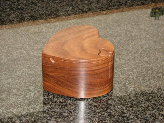 Handcrafted Walnut Heart Shaped Puzzle/Jewelry Box