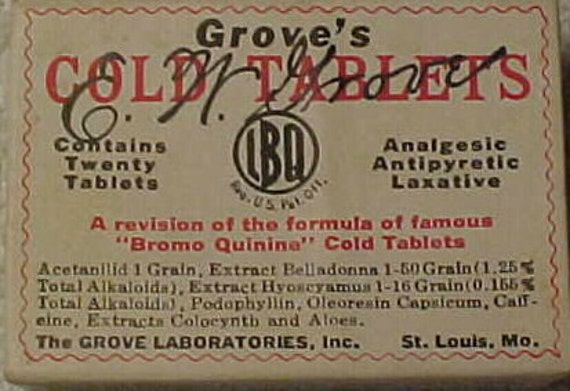 c1930s Grove's Bromo Quinine Cold Tablets The Grove Laboratories St. Louis, MO. , MEDICAL BOX