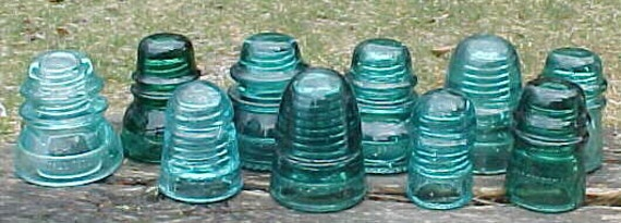 c1890-1940s Collection of 16 Different Glass Insulators Aqua, Blue and Clear Lot 2