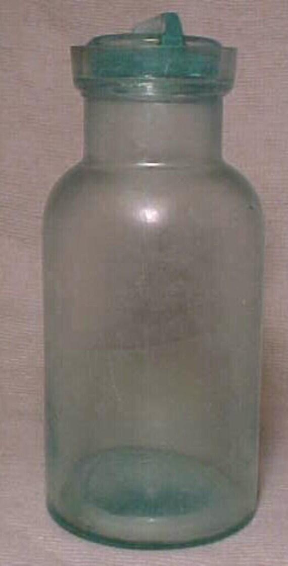 Pat'd Oct. 27, 1863 A. Kline Fruit Jar, Aqua Blown Glass Quart Fruit Jar with Stopper