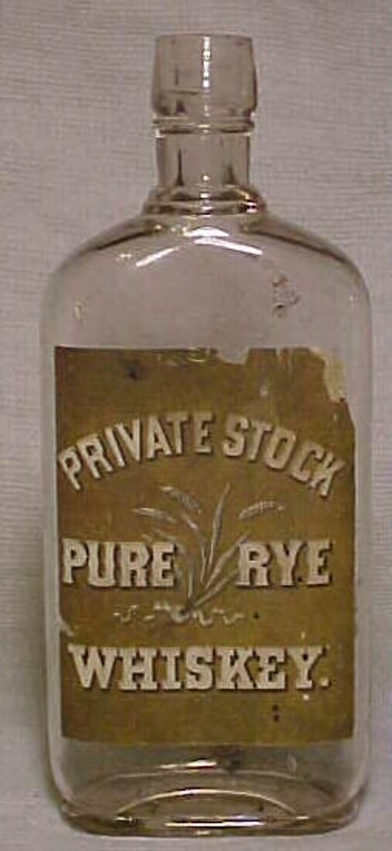 c1890s Private Stock Pure Rye Whiskey Flask Bottle with the Original Paper Label, Pre Prohibition