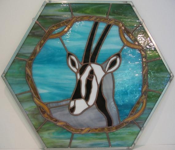 Gemsbok Hexagonal Stained Glass Panel