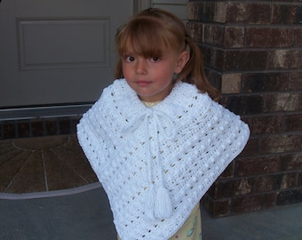 Crochet  Pancho-Kids Jacket-Girls Shawl-Girls Cape-White Pancho-Kids Shawl Pancho-Girls Cover Up-Kids Scarf Shawl