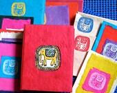 RESERVED 50% Off Hand Made Bright  Nepali LOKTA Bark STATIONARY Paper Ephemera Booklet Box