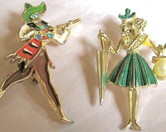 CLEARANCE 50% OFF Vintage Poodle Lady & Mariachi Singer Pins