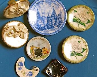 Take 20% Off Sale EIGHT Russian Blue Raised Floral Vintage Miniature Porcelain PLATES Earrings Pendant