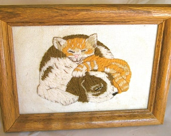 Take 20% OFF SALE Cute Vintage Kitty & Puppy Emroidery Framed