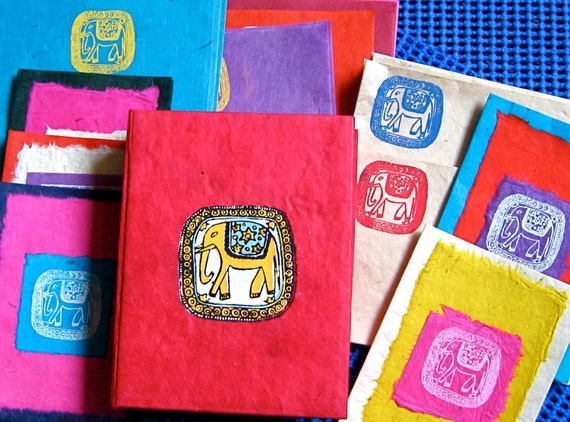 50% Off Hand Made BRIGHT Nepali LOKTA Bark STATIONARY Paper Ephemera Booklet Box