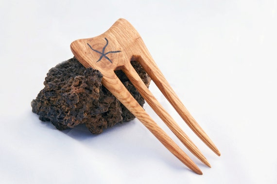 Ash Wood Hair Fork with Stone Inlay - 3 Prong