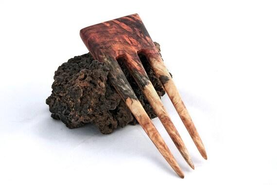 Amboyna Burl & Yew Hair Fork - 3 Prong