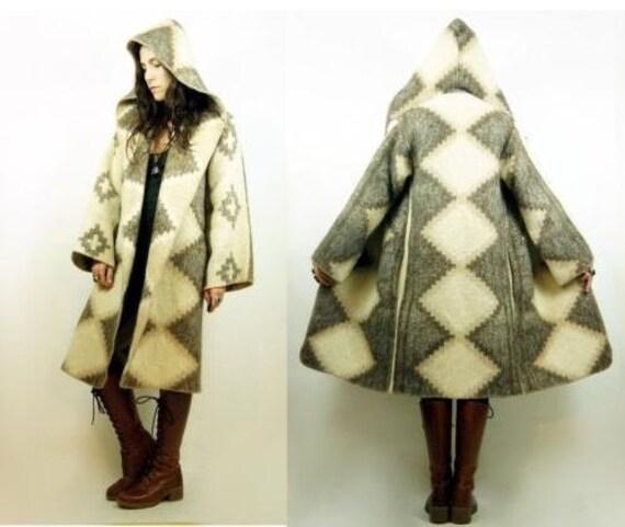 RESERVED thru 12/15- Wool Blanket Coat with Hood - Long, soft, beautiful & unique boho style runway jacket