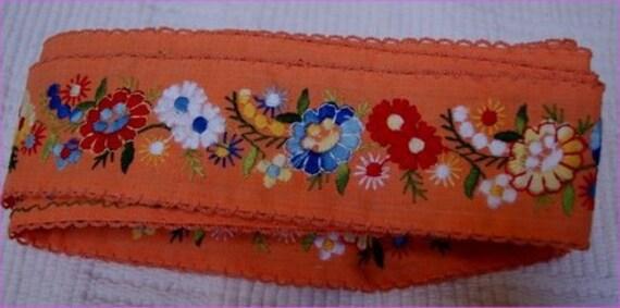 "1970's Vintage Floral Orange Embroidered Ribbon Trim 2.5"" wide total of 34.5"" FREE SHIP USA"