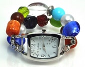 Double stranded multi color interchangeable beaded watch - watch face included