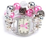 Double stranded white pink & silver interchangeable beaded watchband - face  NOT included
