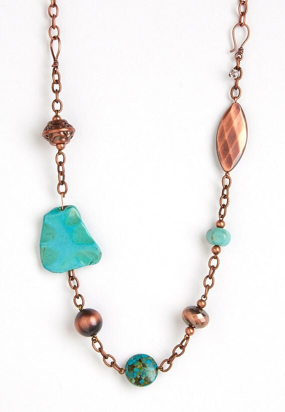 Hand Made Turquoise and Antique Copper Necklace - Adjustable with Hooks