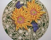 Shasta Blues and Pin Cushion Cactus serigraph