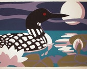 Loon, Moon and waterlily are the imagery in a handprinted serigraph titled Moon Light