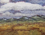 """Wind and clouds over Judith Mountains in central Montana are the subject in """"Gusting Over the Judiths"""" oil painting"""