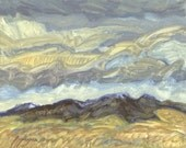 Wind, clouds, prairie and Judith Mountains are the subjects of this small oil painting