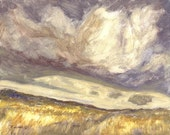 Stormy clouds, wind and Montana prairie are the subject of this small oil painting
