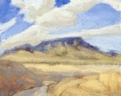 Square Butte, a central Montana landmark, is subject of this small oil painting