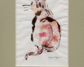 SPECIAL OFFER Sitting calico cat done in free form expressionistic style is subject of small original monotype print