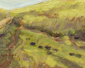 Red Hill Road in spring, with cows, sky, subject of oil study on birch wood panel