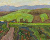 Blue Mountains foothills farmland in Oregon subject in oil painting