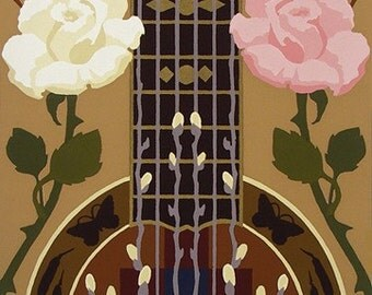 Pussywillows, cattails, soft wind and roses, plus guitar and Blackfeet Indian symbol for mountain are imagery in serigraph