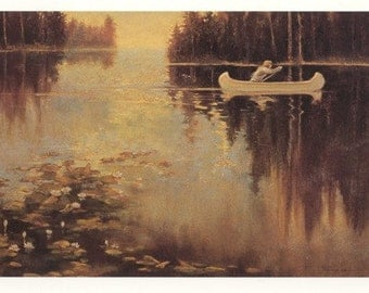 Single white canoe glides across still water in early morning light in this post card print from my original pastel painting