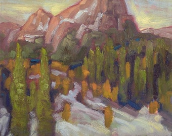 Mountains, trees, snow dance in Strawberry Mountain Wilderness of Oregon in this small oil painting