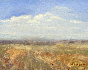 Summer haze over a central Montana prairie with distant island mountains is the subject of this small oil painting