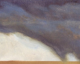 Rain storm passing over Montana prairie is the subject of this small oil painting
