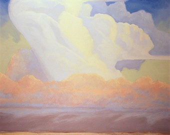 Huge colorful thunderhead cloud over Montana prairie in this oil painting