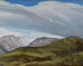Early spring view of Maynard Ridge in Montana's Big Snowy Mountains is subject of this small oil painting
