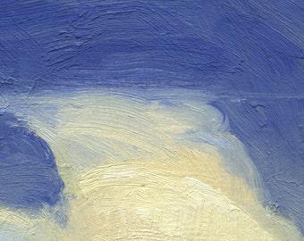 Tall thunderhead dwarfs grain elevators on Montana prairie wheat fields is subject of this small oil painting