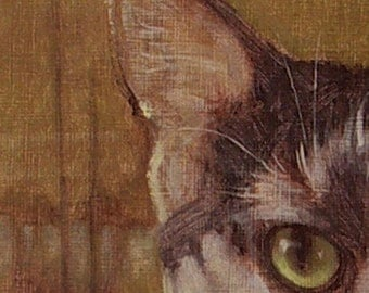 Green-eyed cat rising moon Chinese coin portrait oil painting. Commissions also available