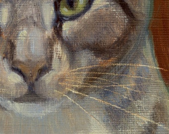 Silver tabby cat with intense green eyes subject of small oil painting. Commissions available