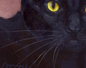 Black cat with yellow eyes, pinkish background is subject of feline portrait in oil paint. Commissions available