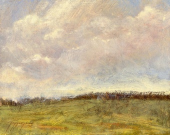 Bright air vaporous clouds in spring sky over Montana's greening prairie in this small oil painting
