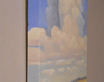 Thunderhead cloud over Montana prairie oil painting on canvas