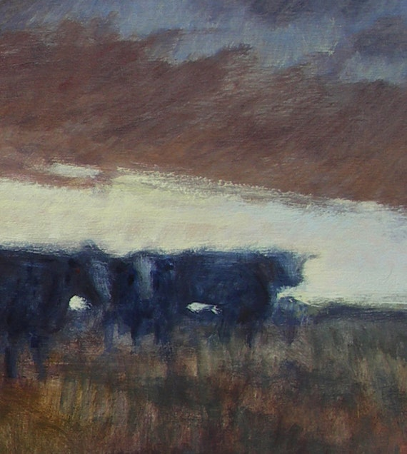 Cows at daybreak on Montana prairie is subject of this oil painting on birch panel