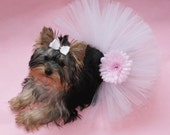 Spring Pink & White Gerber Daisy Bling Dog Tutu and Matching Hair Bow