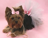 Pink & Silver Sparkle Princess Dog Tutu and Matching Hair Bow